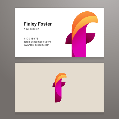 business card design: Modern letter f  Business card template. Vector design. Layered, editable. Illustration