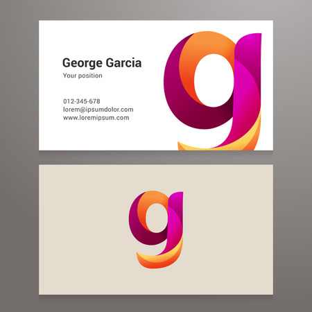 twisted: Modern letter g Business card template. Vector design. Layered, editable.