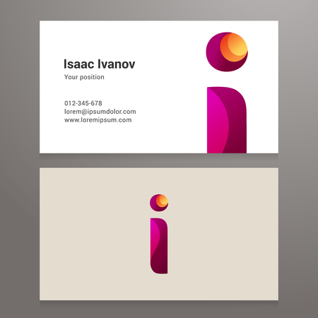 layered: Modern letter i Business card template. Vector design. Layered, editable. Illustration