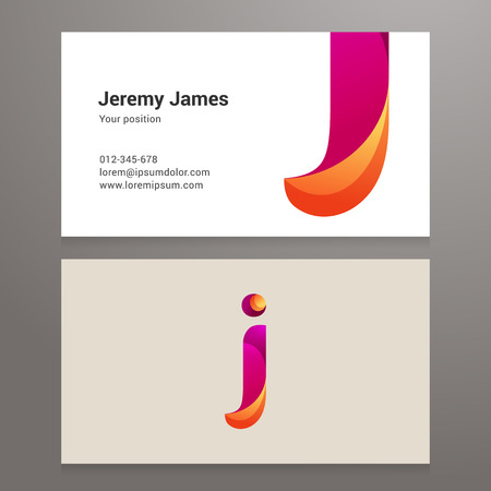 Modern Letter J Business Card Template Vector Design Layered