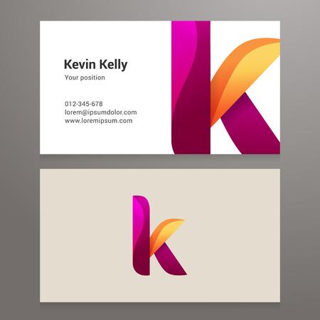 Modern letter k Business card template. Vector design. Layered, editable.