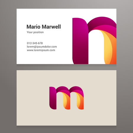m: Modern letter m Business card template. Vector design. Layered, editable.