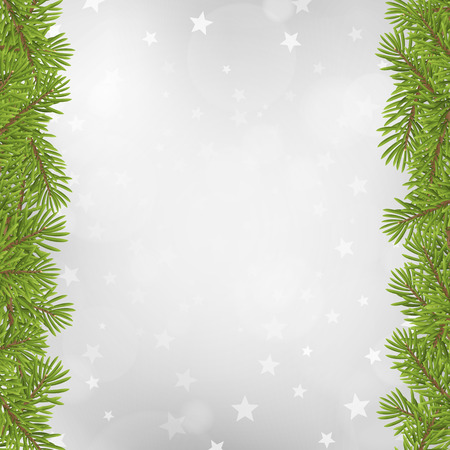 coniferous tree: Christmas tree frame on blurred silver star background. vector illustration. Illustration