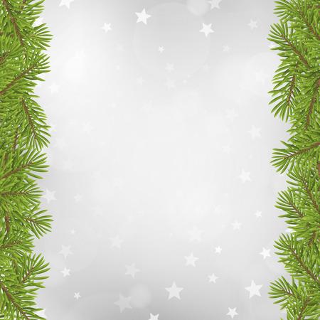 boom: Kerstboom frame op wazig zilveren ster achtergrond. vector illustratie.