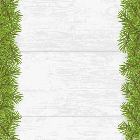 plank: Christmas tree frame on wood plank white background. vector illustration. Illustration