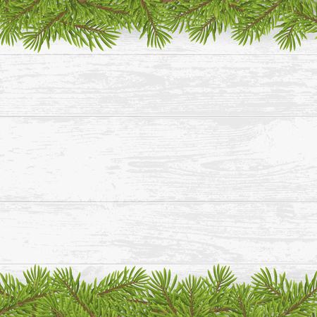 holiday: Christmas tree frame on wood plank white background. vector illustration. Illustration