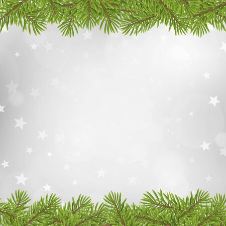 silver star: Christmas tree frame on blurred silver star background. vector illustration. Illustration