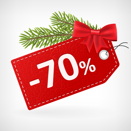 christmas bow: Red leather price christmas vector labels seventy percent sale off.