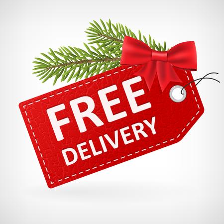 크리스마스 빨간 가죽 가격 벡터 무료 배송 레이블입니다. 배경에서 격리. 계층. 일러스트