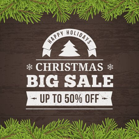 shopping: christmas big sale offer vector poster with twig and wood plank background