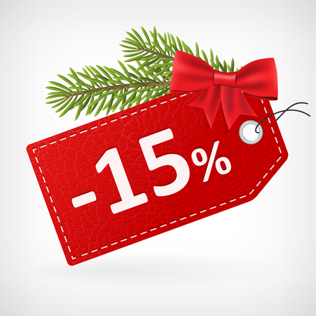 Red leather price christmas vector labels 15 percent sale off.