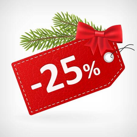 25: Red leather price christmas vector labels 25 twenty-five percent sale off.