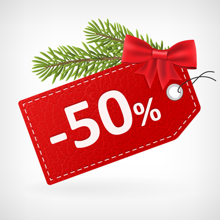 fifty: Red leather price christmas vector labels fifty percent sale off.