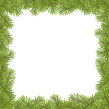 pines: Christmas tree frame isolated on whiter background. vector illustration.