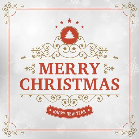 background card: merry christmas vintage line art background. vector greeting card.