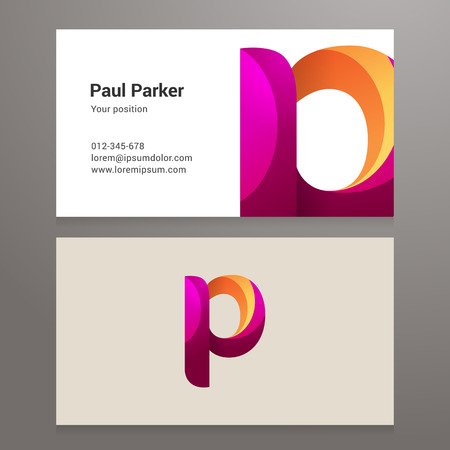 twisted: Modern letter p twisted colorful Business card template.