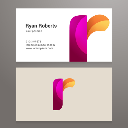 letter art: Modern letter r twisted colorful Business card template. Illustration