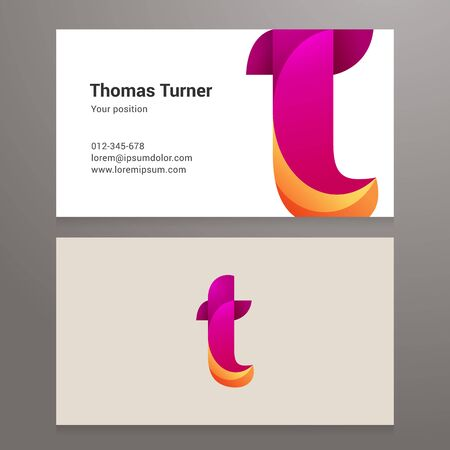 twisted: Modern letter t twisted colorful Business card template. Illustration