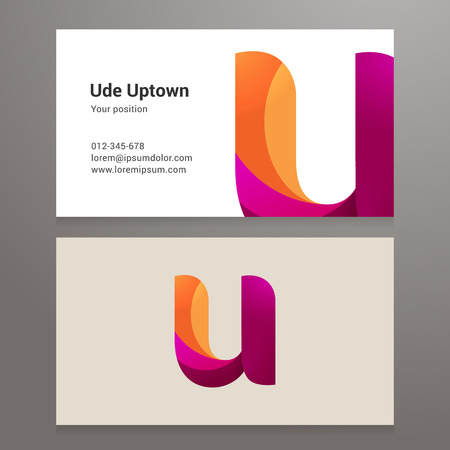 twisted: Modern letter u twisted colorful Business card template.