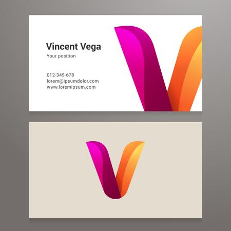 letter v: Modern letter v twisted colorful Business card template. Illustration