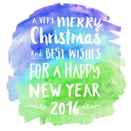 written: Merry christmas hand written watercolor background.