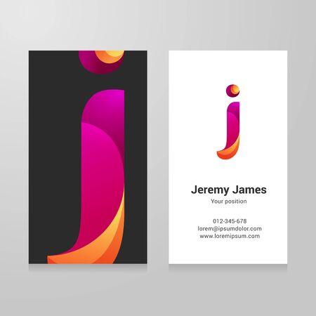 identidad personal: letra j moderna torcido colorido plantilla de tarjeta de visita.