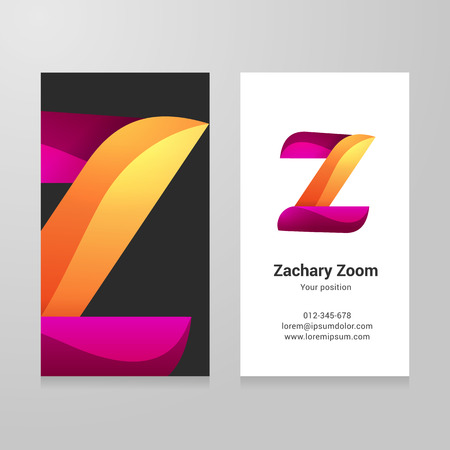 twisted: Modern letter z twisted colorful Business card template. Illustration