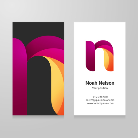 Modern letter n twisted colorful Business card template.