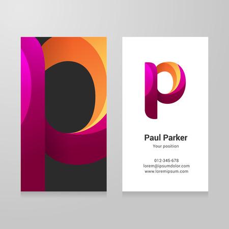 tarjeta de invitacion: Moderno letra p torcido colorido plantilla de tarjeta de visita.
