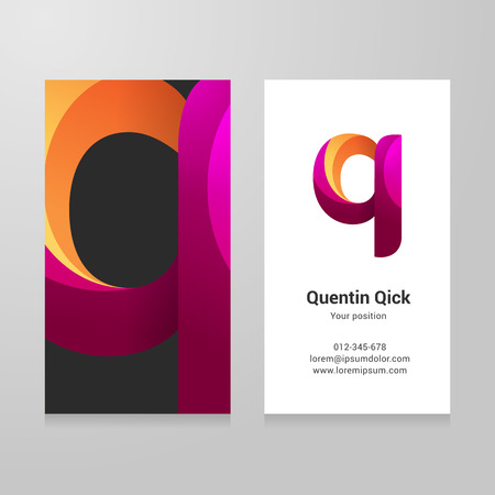 business card design: Modern letter q twisted colorful Business card template.