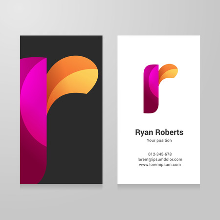 alphabet letter a: Modern letter r twisted colorful Business card template. Illustration