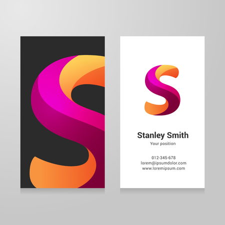 lettre s: Modern letter s twisted colorful Business card template.