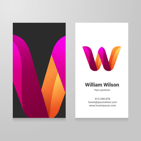 letter w: Modern letter w twisted colorful Business card template.