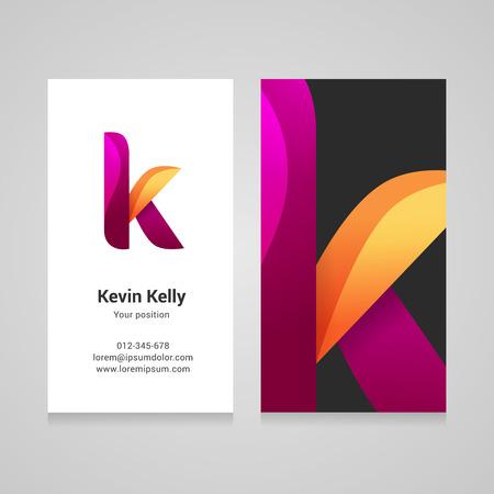 identidad personal: letra k moderna torcido colorido plantilla de tarjeta de visita.