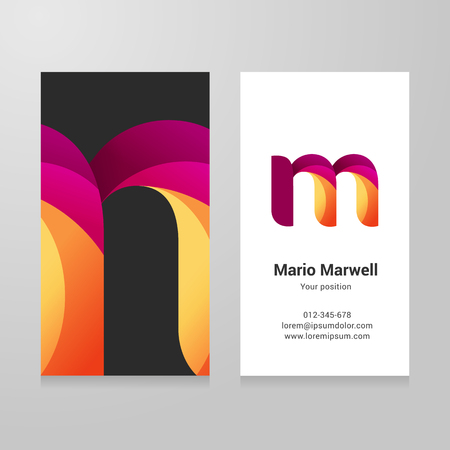 twisted: Modern letter m twisted colorful Business card template.