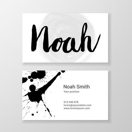 Brushed letter Noah name business card template.  Editable.