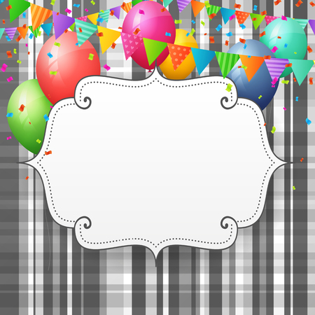 festival: Empty Birthday greeting card with balloons and flags on striped paper background