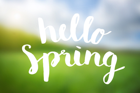 brushed: Hello spring brushed typography poster background.