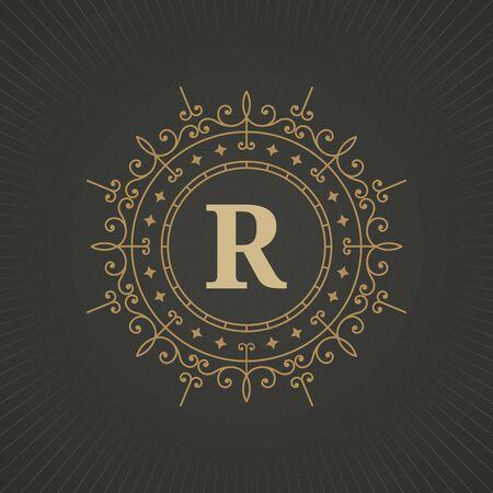 herald: Calligraphic monogram emblem template design. Ornament line design illustration on paper background. Good for personal sign, Restaurant, Cafe, Hotel, Jewelry, Fashion, Store Illustration