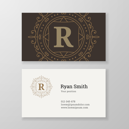 herald: Business card monogram emblem letter R template design. Ornament line design illustration. Good for personal sign, Restaurant, Cafe, Hotel, Jewelry, Fashion, Store