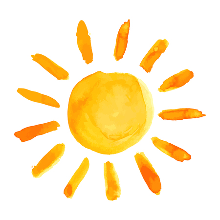 sol: Sun acuarela pintura mano rozó en el fondo blanco. Ilustración del vector.