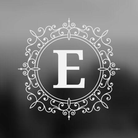 herald: Calligraphic monogram emblem template design. Ornament line design vector illustration on blurred landscape background. Good for personal sign, Restaurant, Cafe, Hotel, Jewelry, Fashion, Store Illustration
