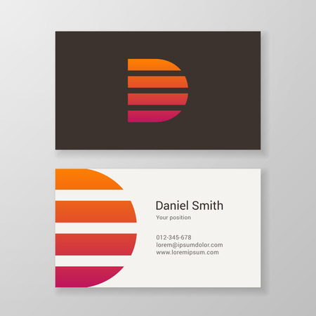 business letter: Design icon letter D stripes business card template. Layered, editable.