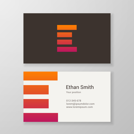e card: Design icon letter E stripes business card template. Layered, editable.