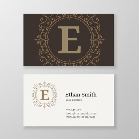 herald: Business card monogram emblem letter E template design. Ornament line design vector illustration. Good for personal sign.