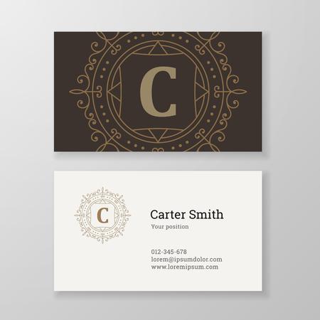 herald: Business card monogram emblem letter C template design. Ornament line design vector illustration. Good for personal sign, Restaurant, Cafe, Hotel, Jewelry, Fashion, Store Illustration
