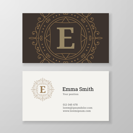 e store: Business card monogram emblem letter E template design. Ornament line design vector illustration. Good for personal sign, Restaurant, Cafe, Hotel, Jewelry, Fashion, Store Illustration