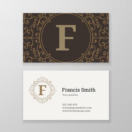 herald: Business card monogram emblem letter F template design. Ornament design vector illustration. Good for personal sign Illustration