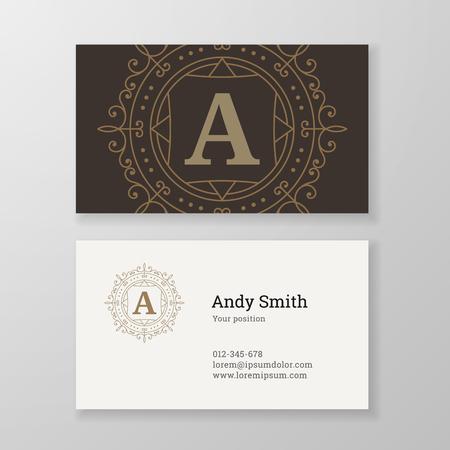 herald: Business card monogram emblem letter A template design. Ornament line design vector illustration. Good for personal sign, Restaurant, Cafe, Hotel, Jewelry, Fashion, Store