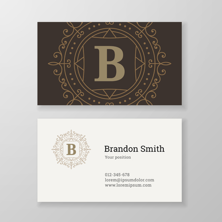 herald: Business card monogram emblem letter B template design. Ornament line design vector illustration. Good for personal sign, Restaurant, Cafe, Hotel, Jewelry, Fashion, Store